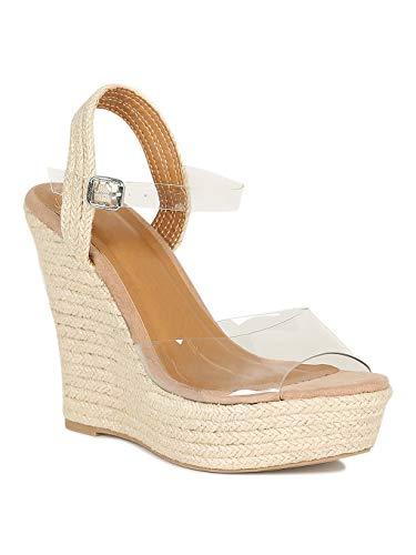 Alrisco Women Transparent Peep Toe Braided Platform Wedge Sandal RG49 - Clear Mix Media (Size: ()