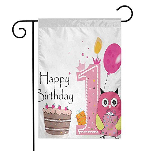 Quintion Kell(e)y 1st Birthday Personalized Garden flagFirst Birthday Surprise Cake Candle Sketchy Cartoon Owl Image Vertical Double Sided Spring Summer W28 x L40 Inch Brown Hot Pink and Pink