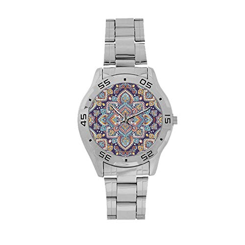 "Ethnic Men's Stainless Steel Analog Watch,Bohemian Tribal Ethnic Vintage Henna Inspired Boho Mehndi Art Decorative for Men,Case Diameter: 1.5""D from C COABALLA"