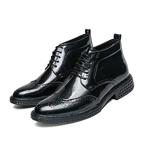 Negro Rojo Brogue Moda La Bota 38 Hombres Los Eu boots De Tobillo Ocasional Personalidad Superior Charol Xiaojuan Estilo Tamaño Botas color PqRS0xa