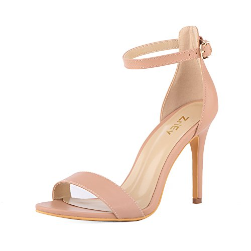 ZriEy Women's Heeled Sandals Ankle Strap High Heels 10CM Open Toe Bridal Party Shoes Nude Size -