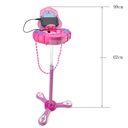 HANMUN Kids Karaoke Machine with 2 Microphones and Adjustable Stand,Music Sing Along with Flashing Stage Lights and for Fun Musical Effects,Pink by HANMUN (Image #5)