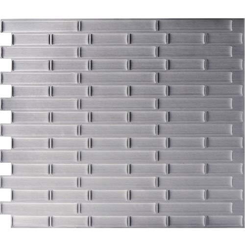 WALL DIMENSION Easy Peel & Stick 3D Vinyl Mosaic Stainless Steel Tile for Kitchen and Bathroom Back Splash Border. Set of 4 Tile Sheets. 2.83 sf. WM-131C
