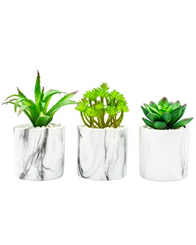 Artificial Succulent Plants in Pot, Potted Fake Plants, Premium Cement Planter, Stylish Marble Decor, (3 Planters) - Marble Wall Decor