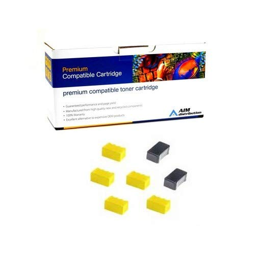 AIM Compatible Replacement for Tektronix-Xerox Phaser 840 Color Solid Ink Sticks (5 Yellow/2 Black) (5866 Page Yield) (016-1607-00) - - Phaser Ink Solid Compatible 840