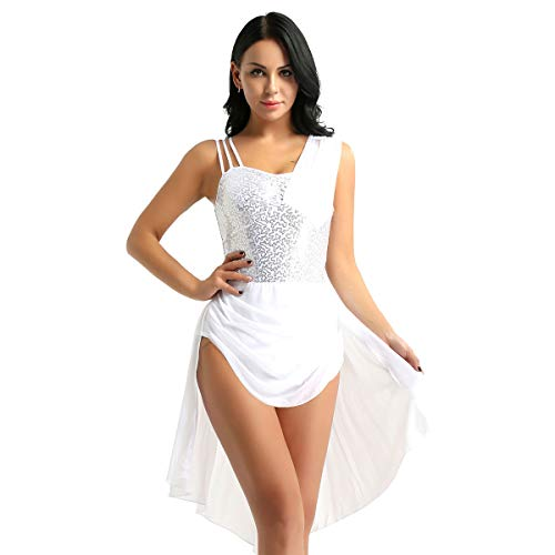 Dress Chiffon Bust Sequined (TiaoBug Women's Sequined Lyrical Ballet Dance Dress Leotard Asymmetric Chiffon Dress White Small)
