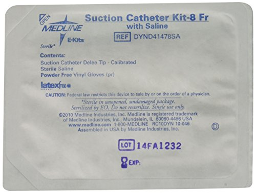 Catheter 8fr (Medline Industries DYND41478SA Suction Catheter Wet Kits with Saline and Delee Tip, 8FR (Pack of 36))