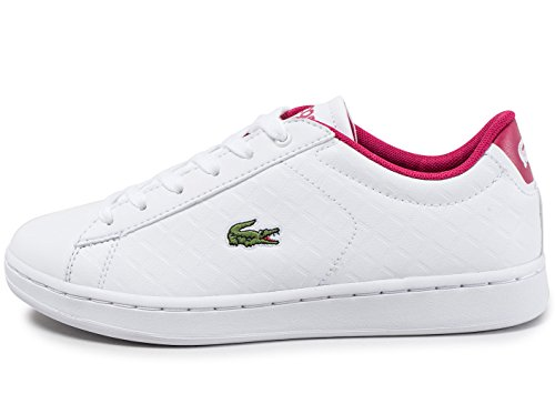 Lacoste Carnaby Evo 417 1 White/Pink Synthetic Youth Trainers White