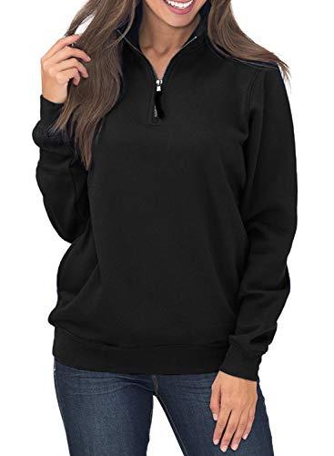 - Diukia Women's Long Sleeves Collar Quarter 1/4 Zip Solid Hoodies Fleece Pullover Sweatshirts with Pockets(S-2XL) Black