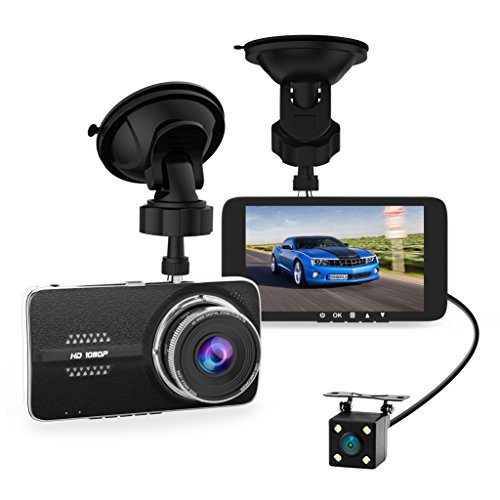4.0' Car Dash Cam, Full HD 1080P Dash Camera, Front + VGA Rear 290 Degree Super Wide Angle Dashboard Camera with G-Sensor, Loop Recording, Parking Monitoring, Motion Detection etc