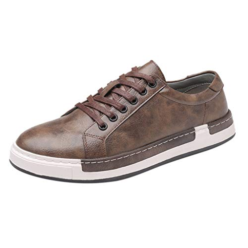 Men's Leather Fashion Sneakers Business Casual Shoes for Men Solid Lace Up Oxfords Leather Shoes Board Shoes Brown