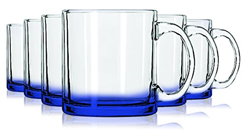 - Libbey Cobalt Blue Jumbo Coffee Mug Glasses with Colored Accent - 13 oz. Set of 6- Additional Vibrant Colors Available by TableTop King