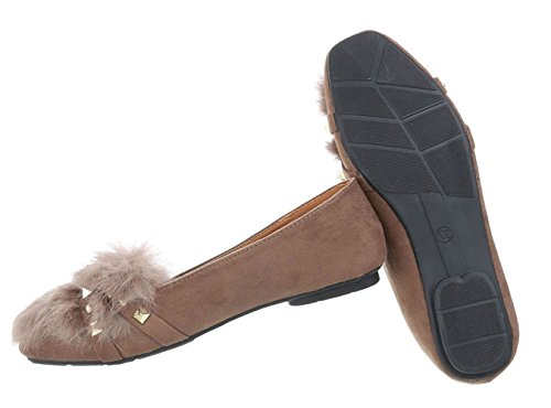 Schuhcity24 Partyschuhe Hellbraun Kunst Slipper Puschel Ballerinas Schuhe Slippers Velours Damen Slip Ballerina Fell Schuhe Slipper Ons Elegante Flats TanCgxZg