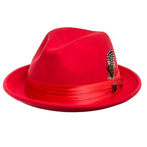 STACY ADAMS Men's Crush Wool Felt Fedora Hat XL Red
