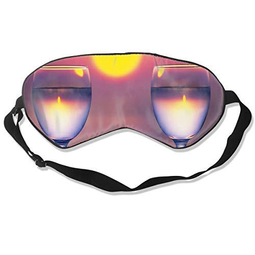 Homlife Sleep Mask 100% Silk Eye Mask Two Wine Glass Sunset Eye Cover Sleeping Mask for Travelling, Night Noon Nap, Mediation Or Yoga