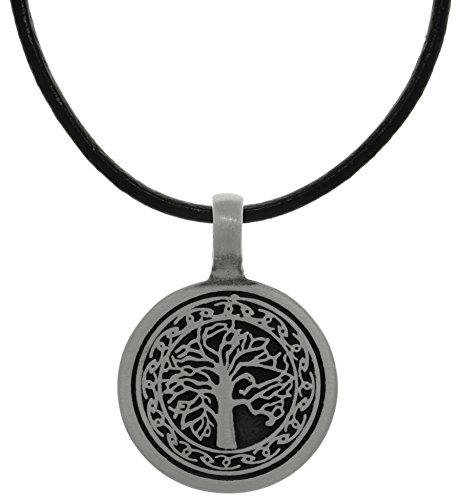 - Jewelry Trends Pewter Tree of Life Pendant with Celtic Knot Design on Black Leather Necklace