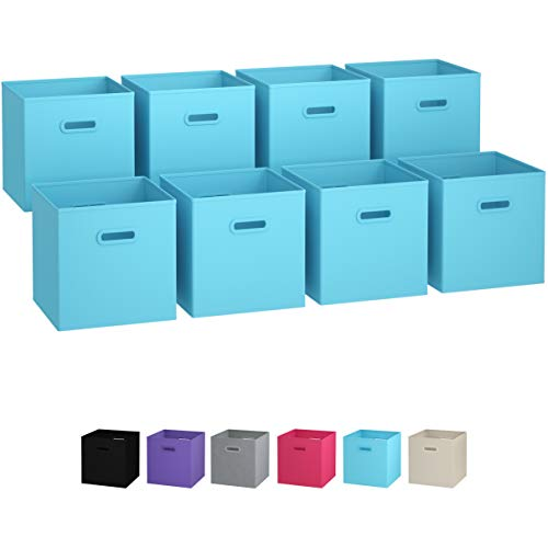 Royexe Storage Bins - Set of 8 - Storage Cubes | Foldable Fabric Cube Baskets Features Dual Plastic Handles. Cube Storage Bins. Closet Shelf Organizer | Collapsible Nursery Drawer Organizers (Blue)