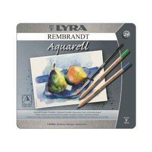 Rembrandt Aquarell Pencil Set - 24 Assorted Colours In A Metal Box