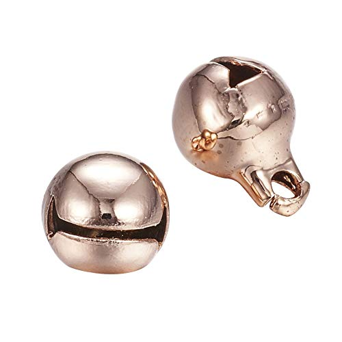 PH PandaHall 10PCS Rose Gold Stainless Steel Bell Charm Pendants DIY Bells for Wreath, Holiday Home and Christmas Decoration 11x8mm, Hole 1.8mm