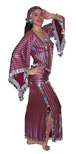 Women Belly Dance Folkloric Baladi Egyptian Galabeya Dancing Dress Costume (XXL, Burgundy& Silver)