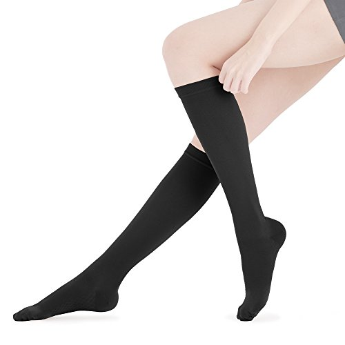 Fytto 2020 Closed-Toe Compression Socks, Breathable Microfiber, 15-20 mmHg Graduated Support – Discreet Medical Hosiery for Professionals, Relieves Swelling & Alleviates Varicose Veins, Black, Large
