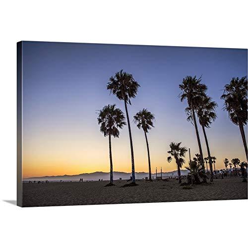 - Sunset On Venice Beach, California Canvas Wall Art Print, 36