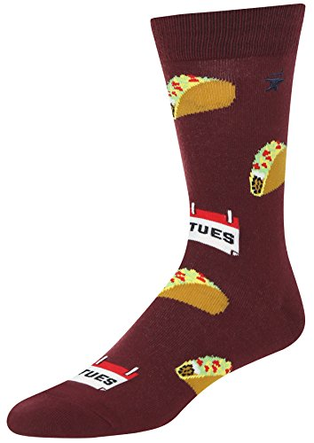 Stith Mens Taco Tuesday Print Crew Socks Burgundy One Size