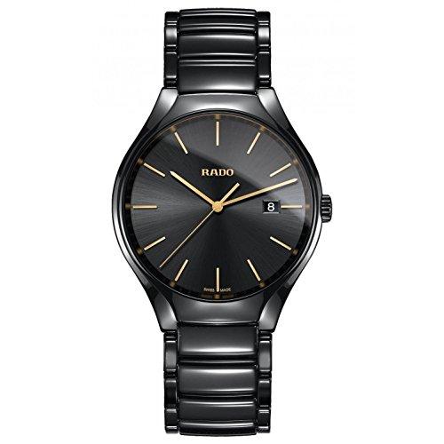 Rado Men's True 40mm Black Ceramic Band & Case Sapphire Crystal Quartz Analog Watch R27238152 (Ceramic Analog Quartz Watch)