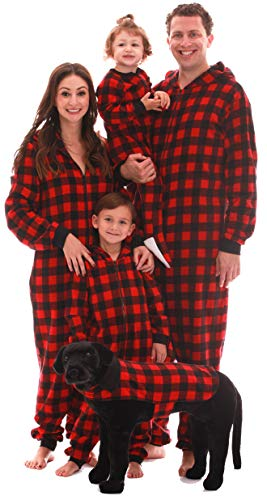 #followme Family Pajamas Buffalo Plaid Microfleece Mens Adult Onesie 6754-10195-M]()