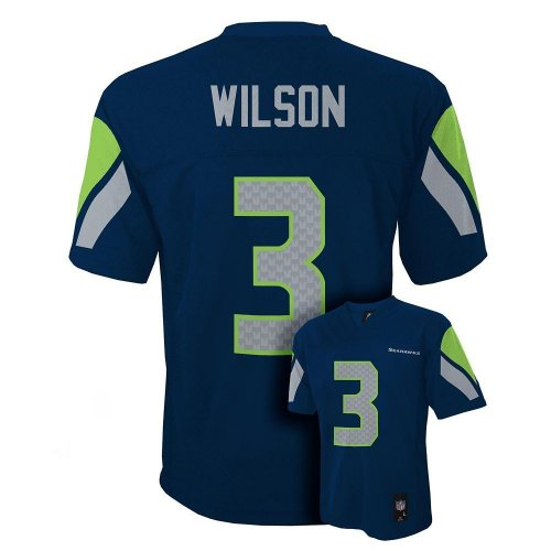 (Outerstuff NEW Seattle Seahawks RUSSELL WILSON Navy Blue Youth Boys Football Jersey Size XL 18-20 X-Large)