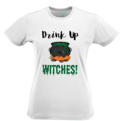 Halloween Womens Tee Drink Up, Witches Cauldron White S -
