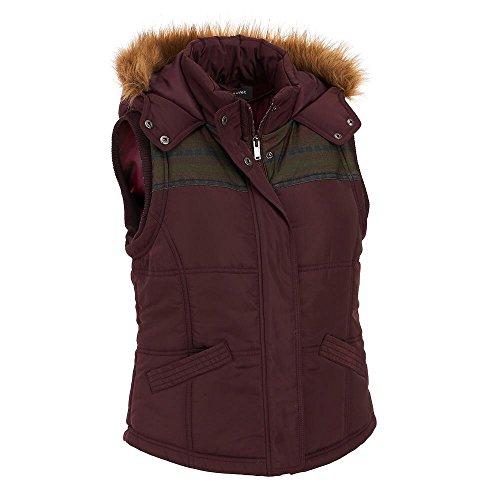 Black Rivet Womens Puffy Vest W/ Faux-Fur Trim Hood L Aub...