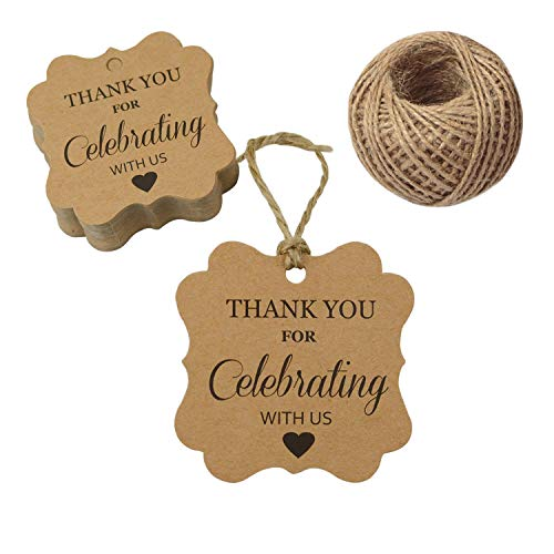 100 PCS Paper Gift Tags,Thank You for Celebrating with Us Tags with 100 Feet Natural Jute Twine for Wedding Party Favors,Baby Shower (Rectangle Brown) -