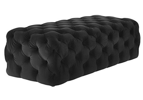 Grace Table Stool (TOV Furniture The Kaylee Collection Modern Style Living Room Jumbo Velvet Upholstered Button Tufted Ottoman, Black)