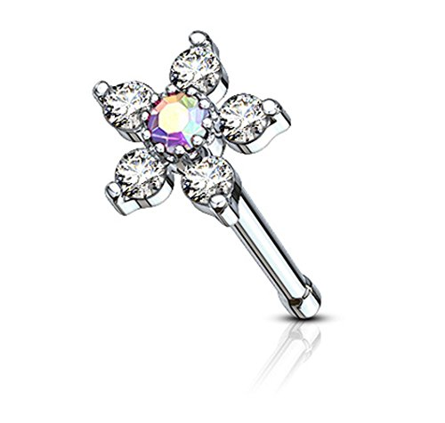Forbidden Body Jewelry 20g Surgical Steel Nose Stud with Big Bling 6-CZ Crystal Flower, Aurora Borealis/Clear (Ring Nose Christina)