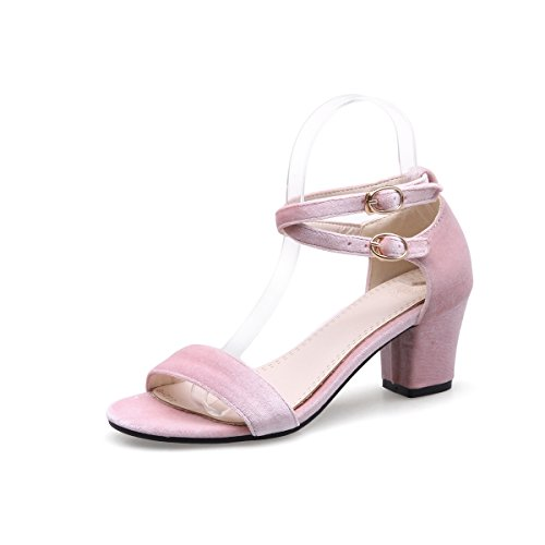 F Women's high-Heeled Sandals, Gold Suede, Coarse Heel Sandal Comfort Pink