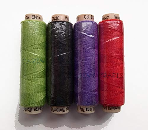 (Sue Spargo Ellana Wool Blend Thread for Embroidery - Four 70-Yard Spools, Matches The ''Ladybug'' Colorway 4 Wool Applique Pack)