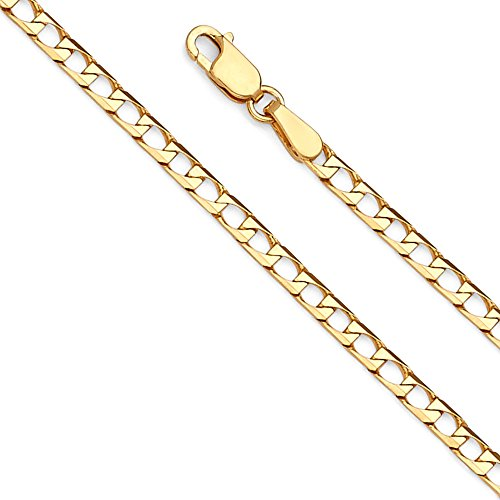 Gold Square Curb Chain (Wellingsale 14k Yellow Gold SOLID 2.5mm Polished Square Cuban Concaved Curb Chain Necklace - 22