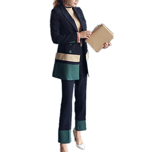 - Smile-YZ Fashion Women's Two Piece Business Three Button Blazer and Pants Suit Set (US L/Asia XL)