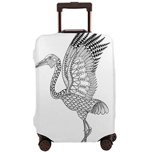 Travel Luggage Cover,Hand-Drawn Brolga Australian Bird Detail Antistress Coloring Concept Suitcase Protector