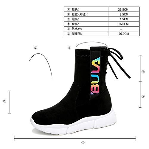 Da Alte Autunno Sneakers Primavera Yan Elasticizzata Microfibra Un Con Scarpe Donna amp; Sportive Stringate Stivali Calzamaglia Plateau 5xYwC8qC