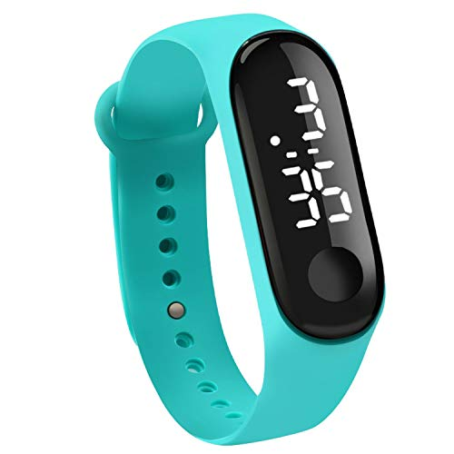 Touch Sn Dial White Light Display Silicone Strap Men Women Wrist Student Kids Sport Outdoor Clock Watch,Sky - Dial Green Silicone Light