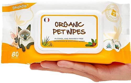 Dhohoo Pflegetücher für Hunde und Katzen – 80 Stück/Packung Bio-Reinigungstücher für Körper, Pfoten, Ohr, Gesicht…