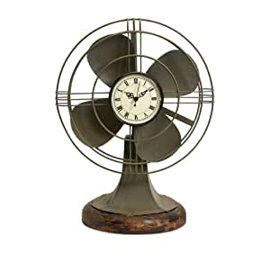 """17.5"""" Decorative Retro-Style Table Fan with Clock Face and Wood Base"""