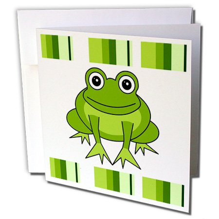 3dRose Cute Happy Green Frog with Stripes - Greeting Cards, 6 x 6 inches, set of 12 (gc_6104_2) Green Stripe Note