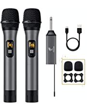 Wireless Microphone, TONOR UHF Dual Cordless Metal Dynamic Mic System with Rechargeable Receiver, for Karaoke Singing, Meeting, Wedding, DJ, Party, Speech, Church, Class Use, 200ft (TW-630)