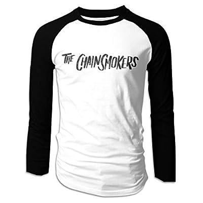 Eowlte The Chainsmokers Men's Raglan Long Sleeve Athletic Casual Baseball T-Shirt Black