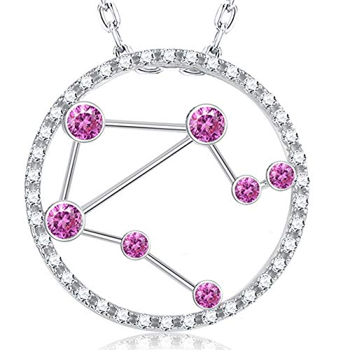 October Birthstone Pink Tourmaline Necklace Zodiac Horoscope Libra Constellation Jewelry Birthday Gifts for Women Charm Star Pendant Sterling Silver With CZ,18