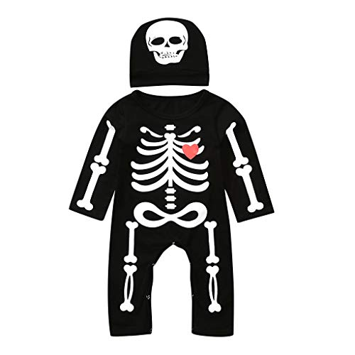 Newborn Toddler Infant Baby Girl Boy Halloween Funny Clothes Autumn Winter Bone Print Romper Jumpsuit+Hat Set Outfits Black