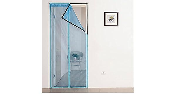 J&DSSSU Mosquitera Puerta magnética Cubierta con Cortina de Malla Resistente Volar Cortina corredera Puertas de Vidrio-Azul-A 150x200cm(59x79inch): Amazon.es: Hogar